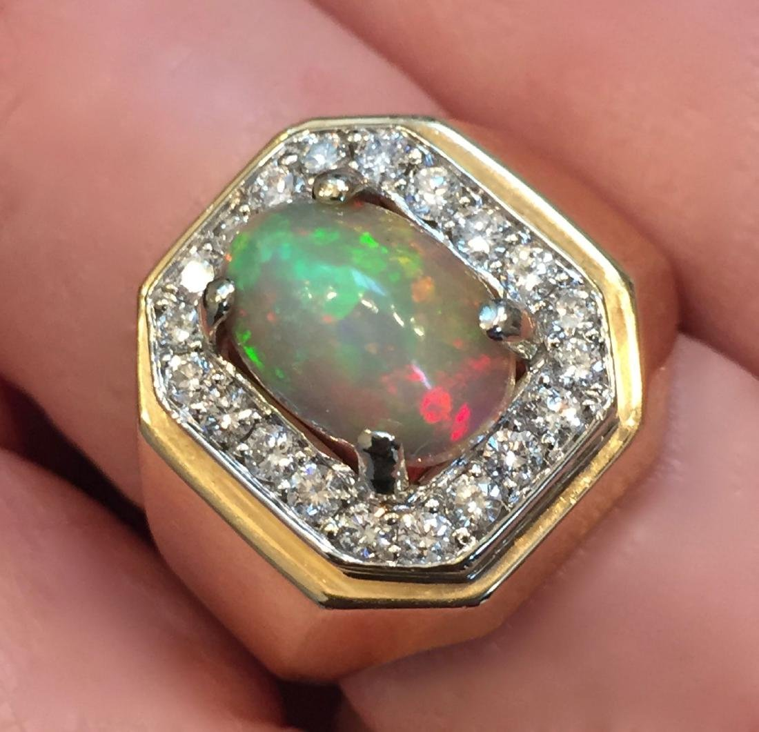 14K YELLOW GOLD OPAL AND DAMOND RING
