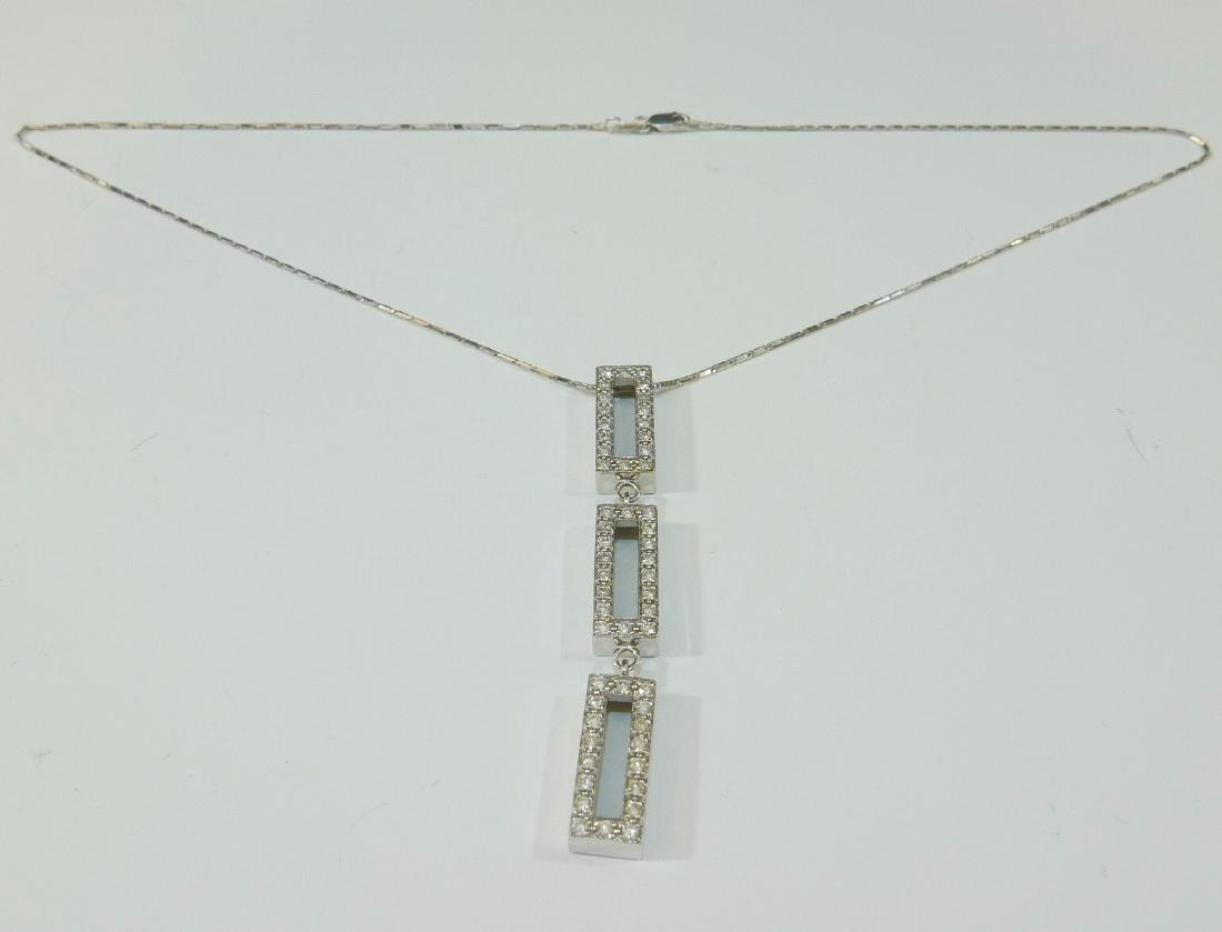 14K WHITE GOLD DIAMOND NECKLACE - GEOMETRIC SHAPE
