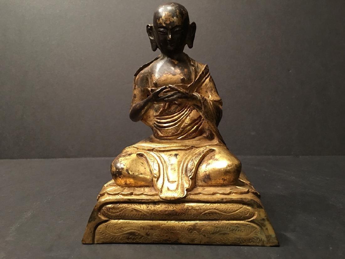 "ANTIQUE Chinese Ming Gilt Bronze Buddha 8"" H, Ming."