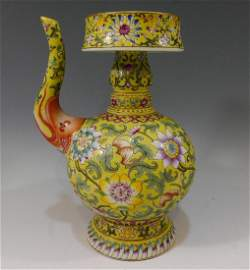 CHINESE ANTIQUE IMPERIAL FAMILLE ROSE PORCELAIN EWER -