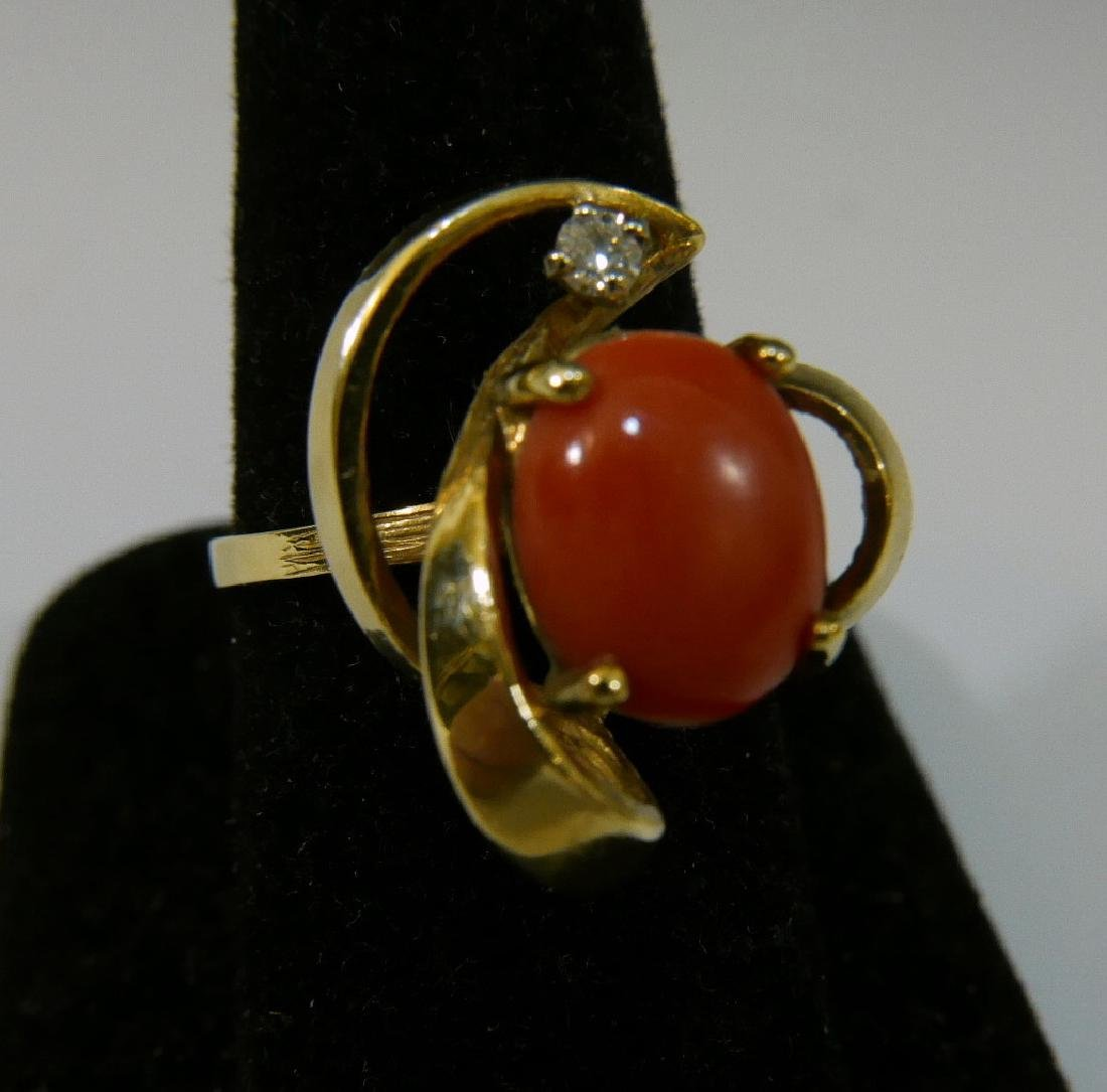 14K GOLD RED CORAL & DIAMOND RING