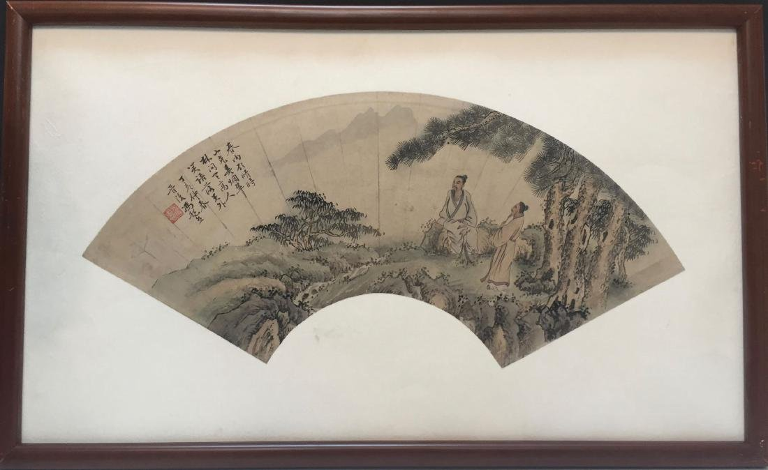 CHINESE ANTIQUE PRINT WITH FRAME.SIGNED BY FENG CHAORAN