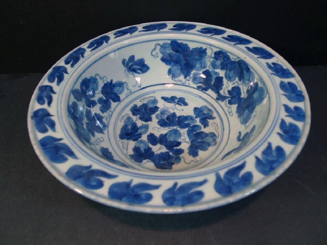 RARE ANTIQUE CHINESE BLUE WHITE PORCELAIN BOWL - 18TH