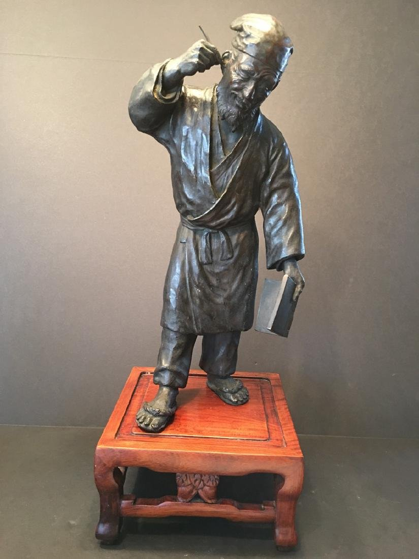 ANTIQUE Chinese Huge Bronze Figurine of Man, 19th