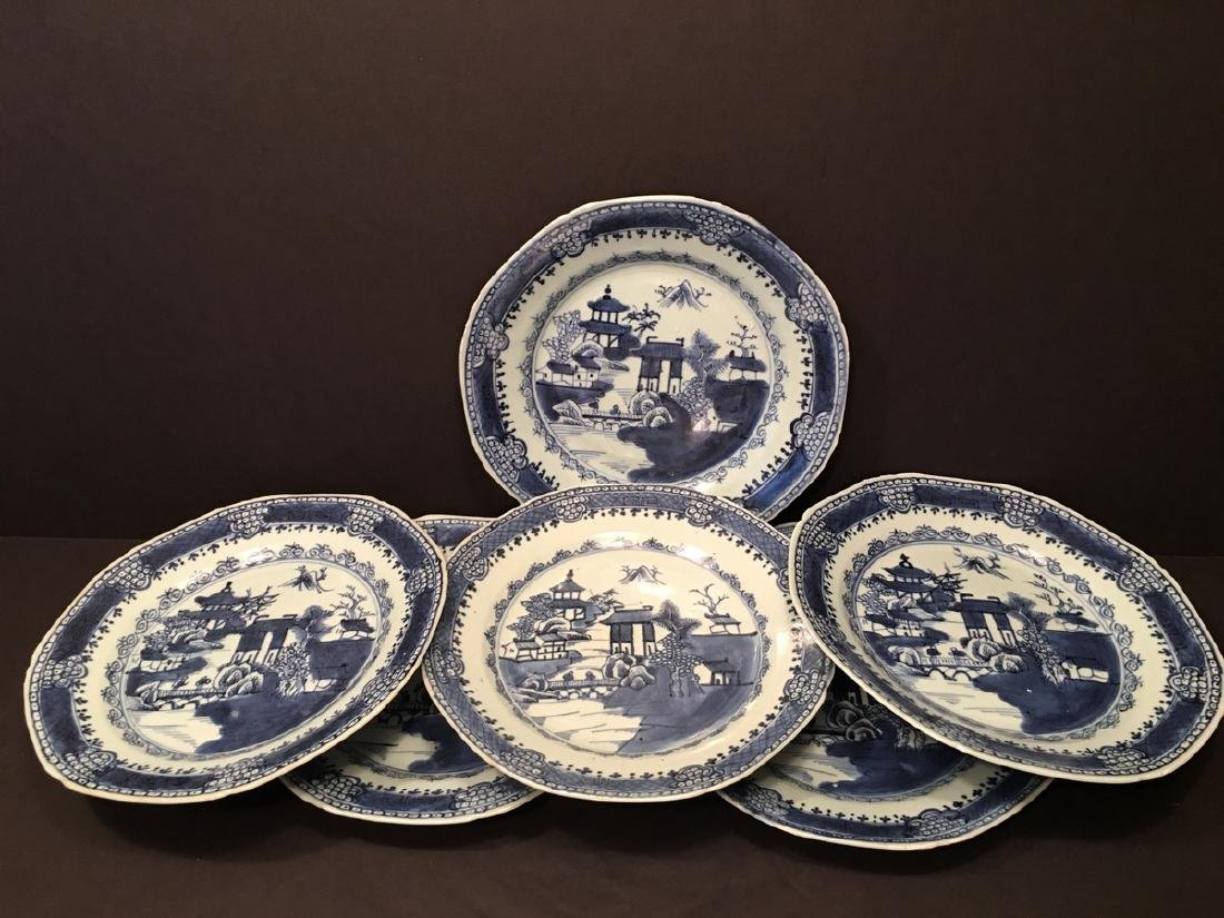"""ANTIQUE Chinese Blue and white Plates (6), ca 1750. 9"""""""