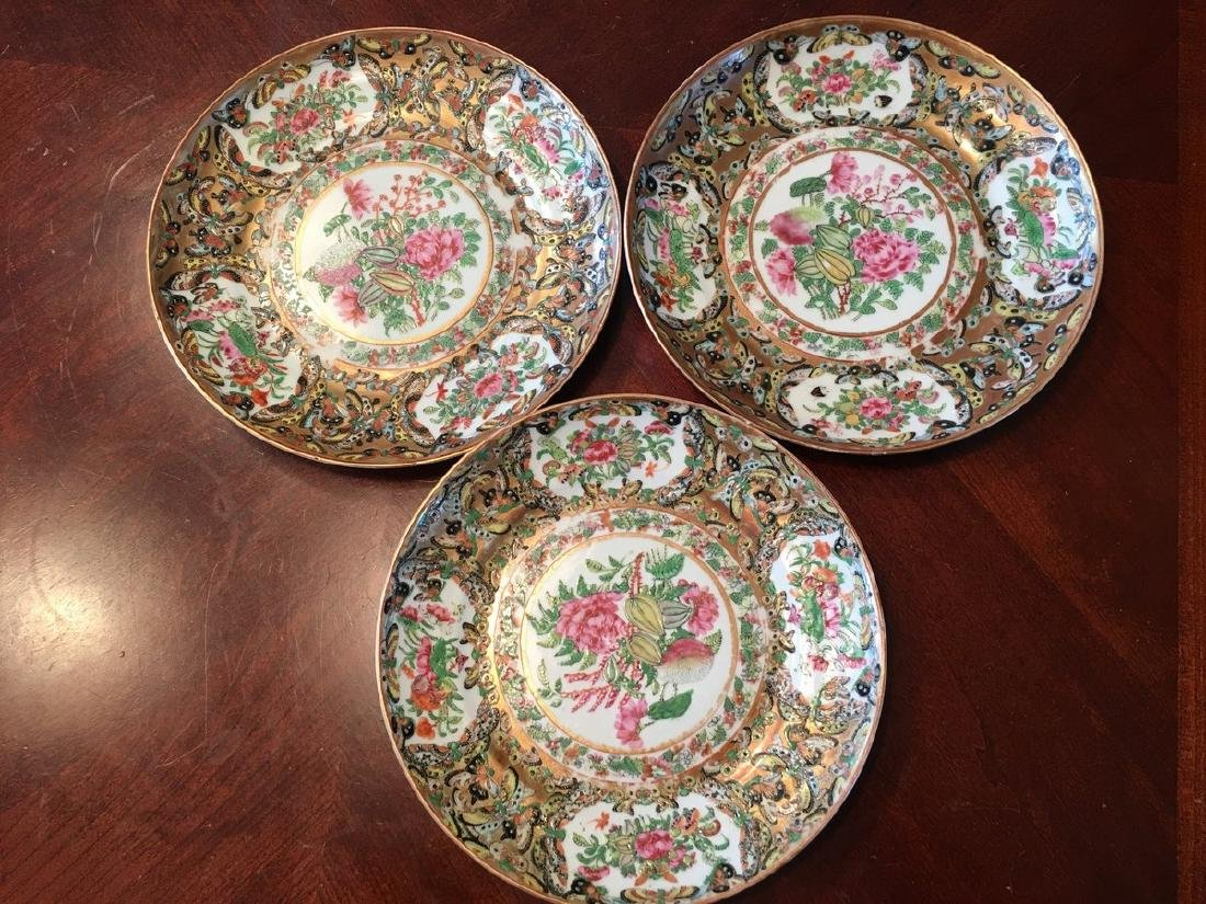 ANTIQUE Chinese Famille Rose Butterfly plates, 19th