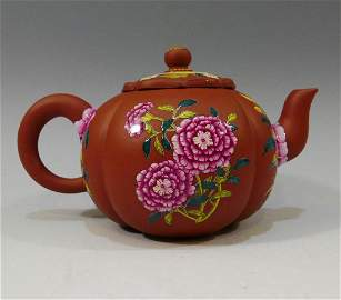 CHINESE ANTIQUE ENAMEL ON YIXING ZISHA TEAPOT - KANGXI