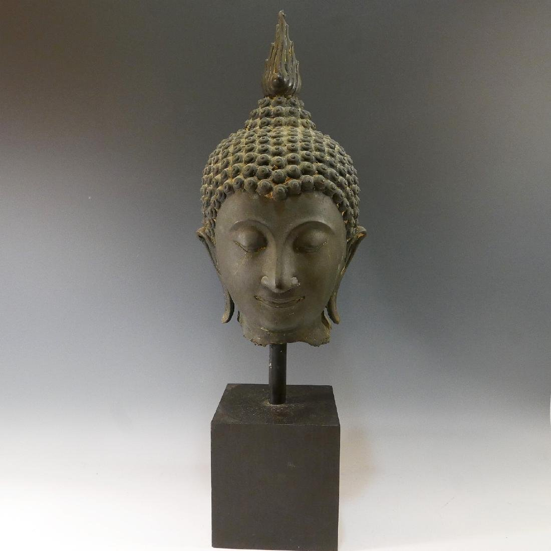 VERY LARGE THAI BRONZE BUDDHA HEAD - 18TH CENTURY