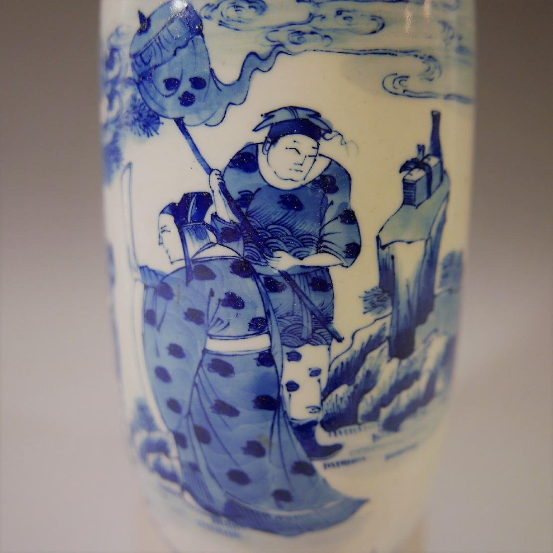 CHINESE ANTIQUE BLUE AND WHITE VASE - 18TH CENTURY - 6