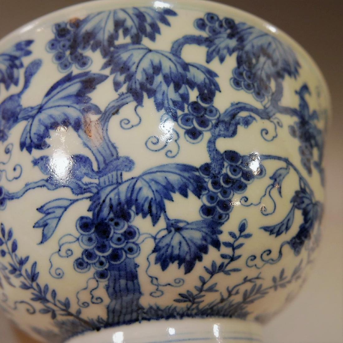 LARGE CHINESE ANTIQUE BLUE WHITE PORCELAIN BOWL - - 7