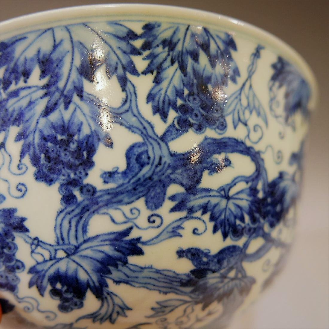 LARGE CHINESE ANTIQUE BLUE WHITE PORCELAIN BOWL - - 8
