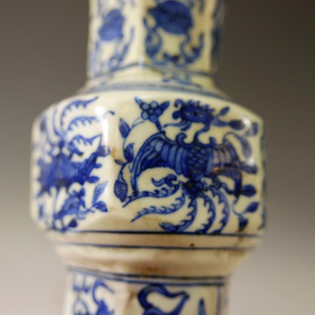 CHINESE ANTIQUE BLUE WHITE PHOENIX PORCELAIN VASE - - 5