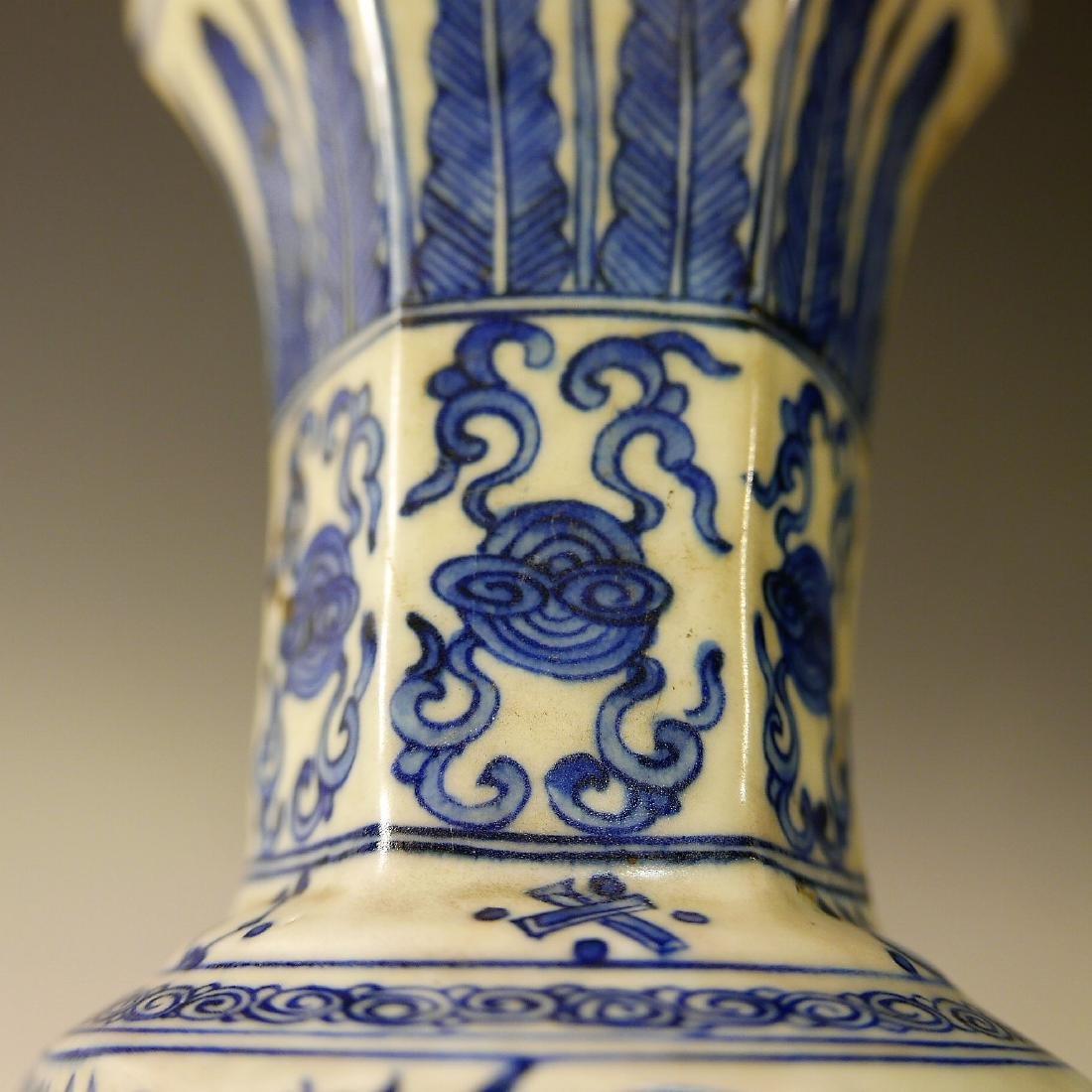 CHINESE ANTIQUE BLUE WHITE PHOENIX PORCELAIN VASE - - 7