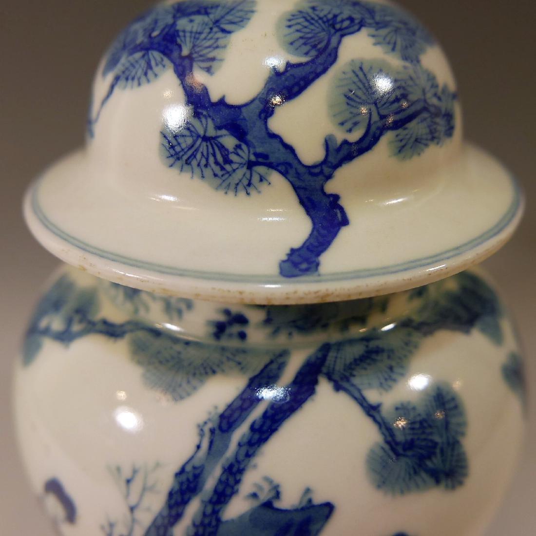 CHINESE ANTIQUE BLUE WHITE PORCELAIN COVER VASE - - 3