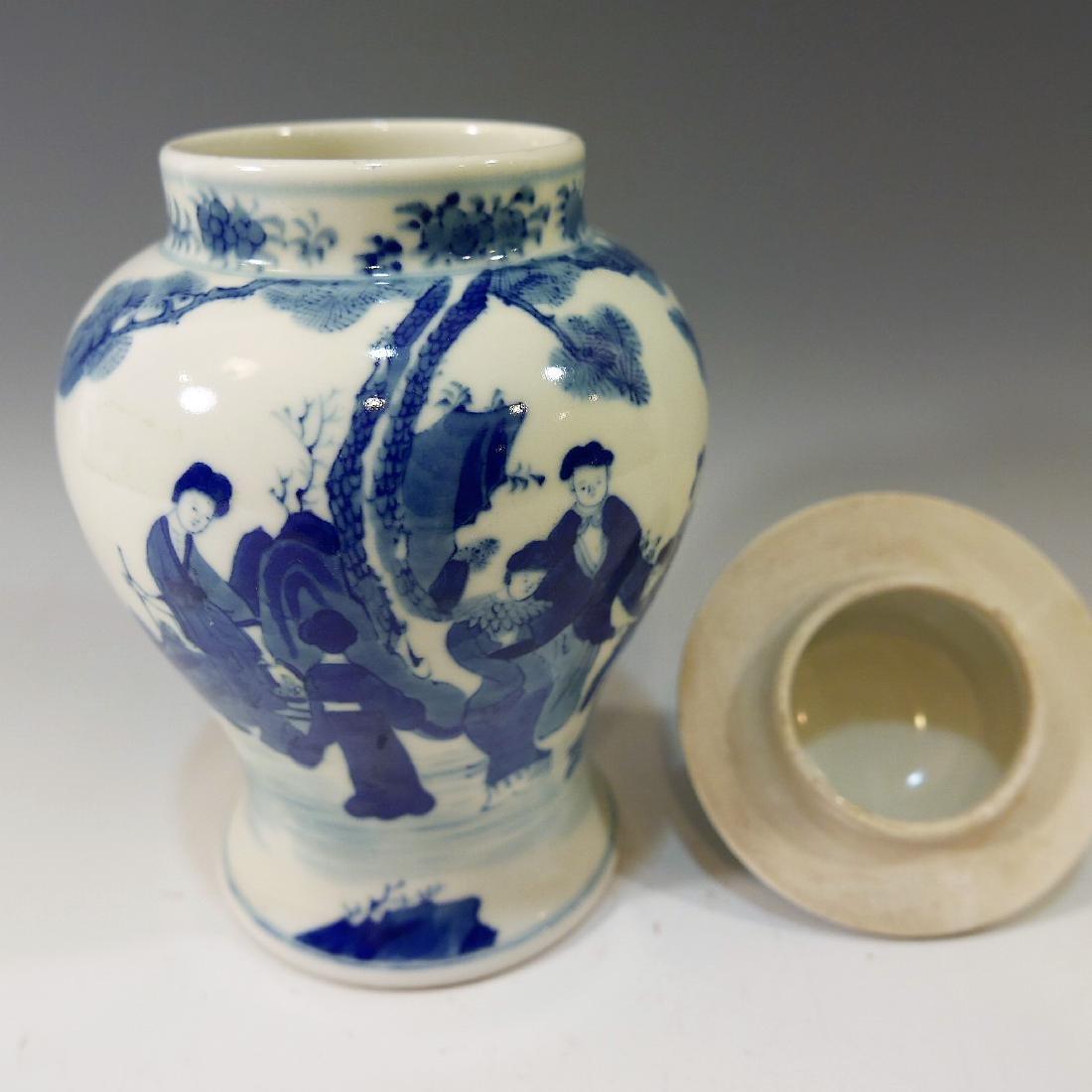 CHINESE ANTIQUE BLUE WHITE PORCELAIN COVER VASE - - 6