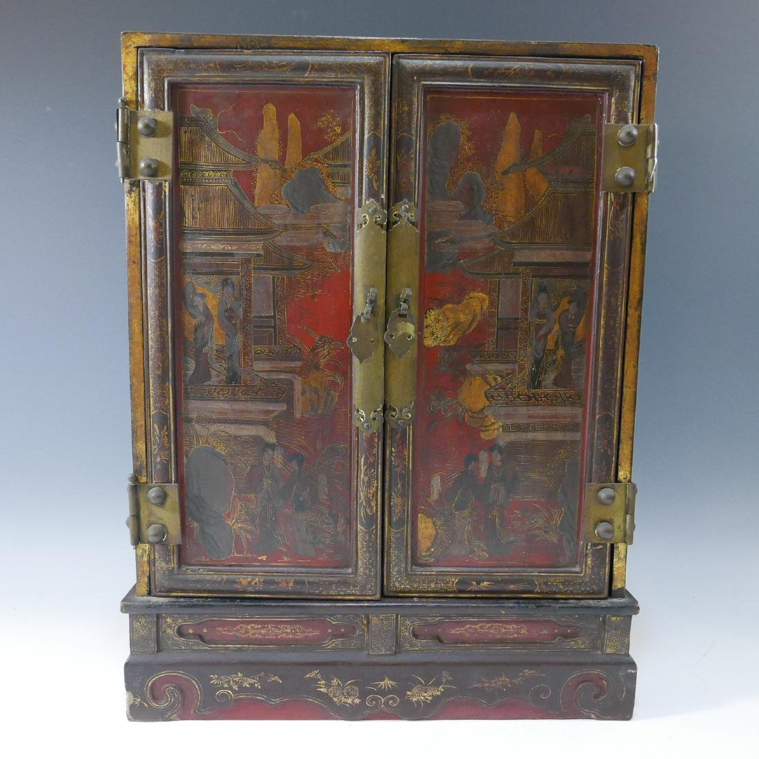 CHINESE ANTIQUE PAINTED LACQUER WOOD CABINET - QING