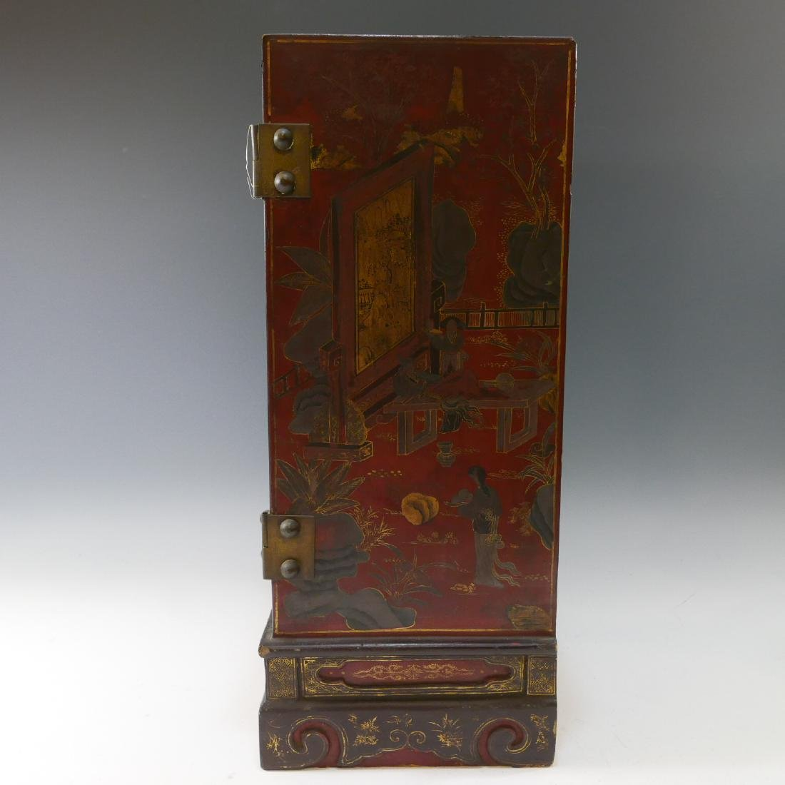 CHINESE ANTIQUE PAINTED LACQUER WOOD CABINET - QING - 5