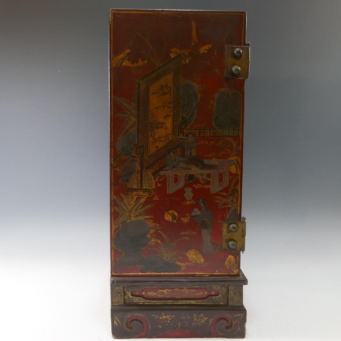 CHINESE ANTIQUE PAINTED LACQUER WOOD CABINET - QING - 7