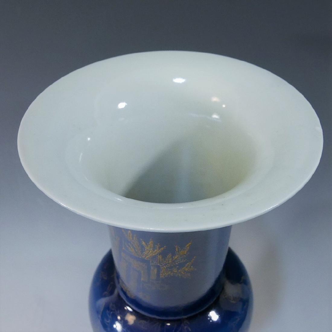 CHINESE ANTIQUE BLUE GLAZE GILT YEN YEN VASE - DAOGUANG - 3