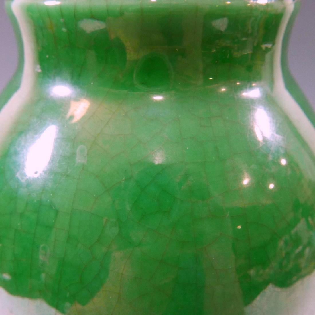 CHINESE ANTIQUE GREEN GE GLAZE PORCELAIN VASE - 18TH - 8