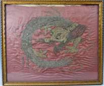 CHINESE ANTIQUE SILK EMBROIDERY DRAGON  18 CENTURY OR
