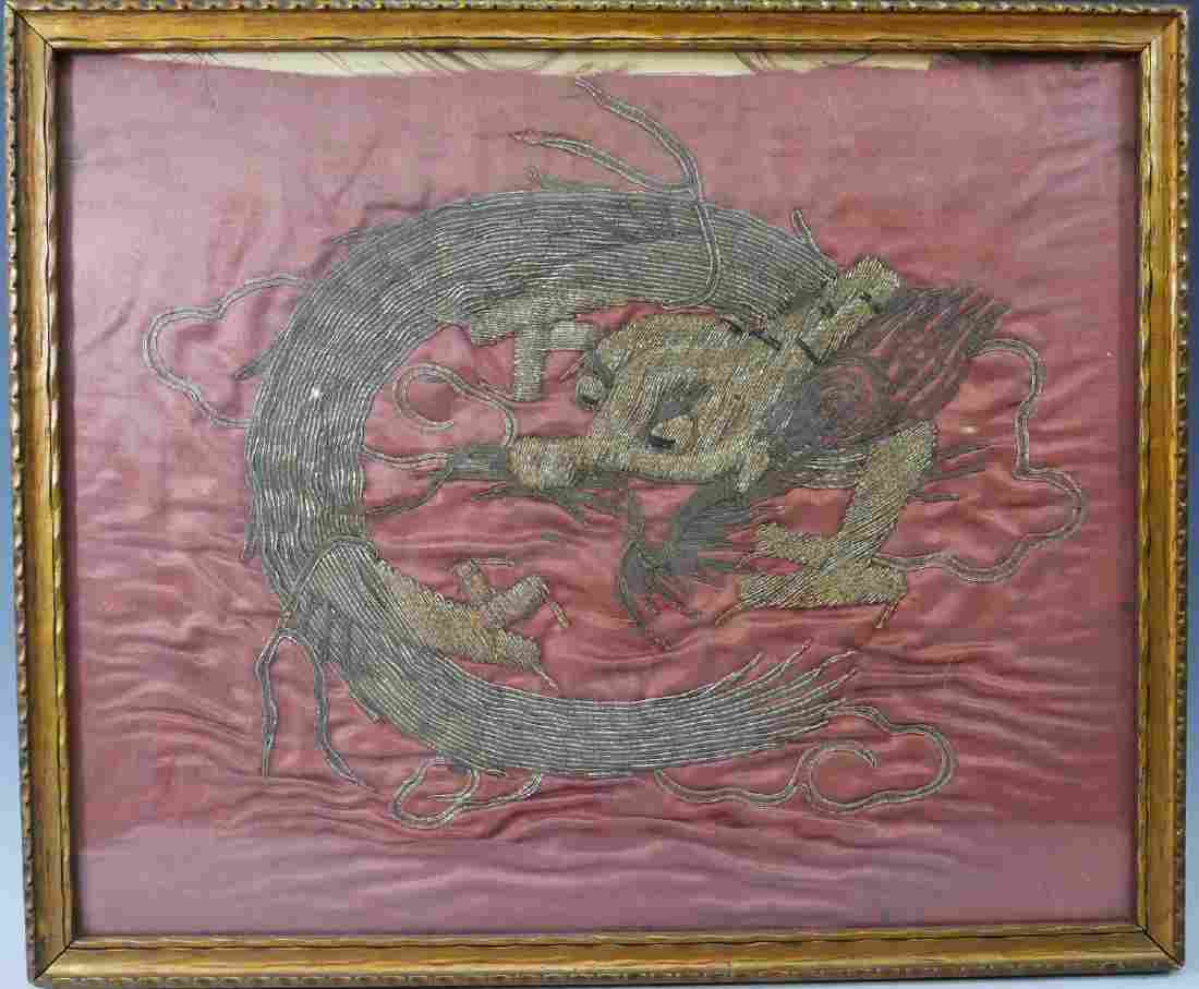 CHINESE ANTIQUE SILK EMBROIDERY DRAGON - 18 CENTURY OR