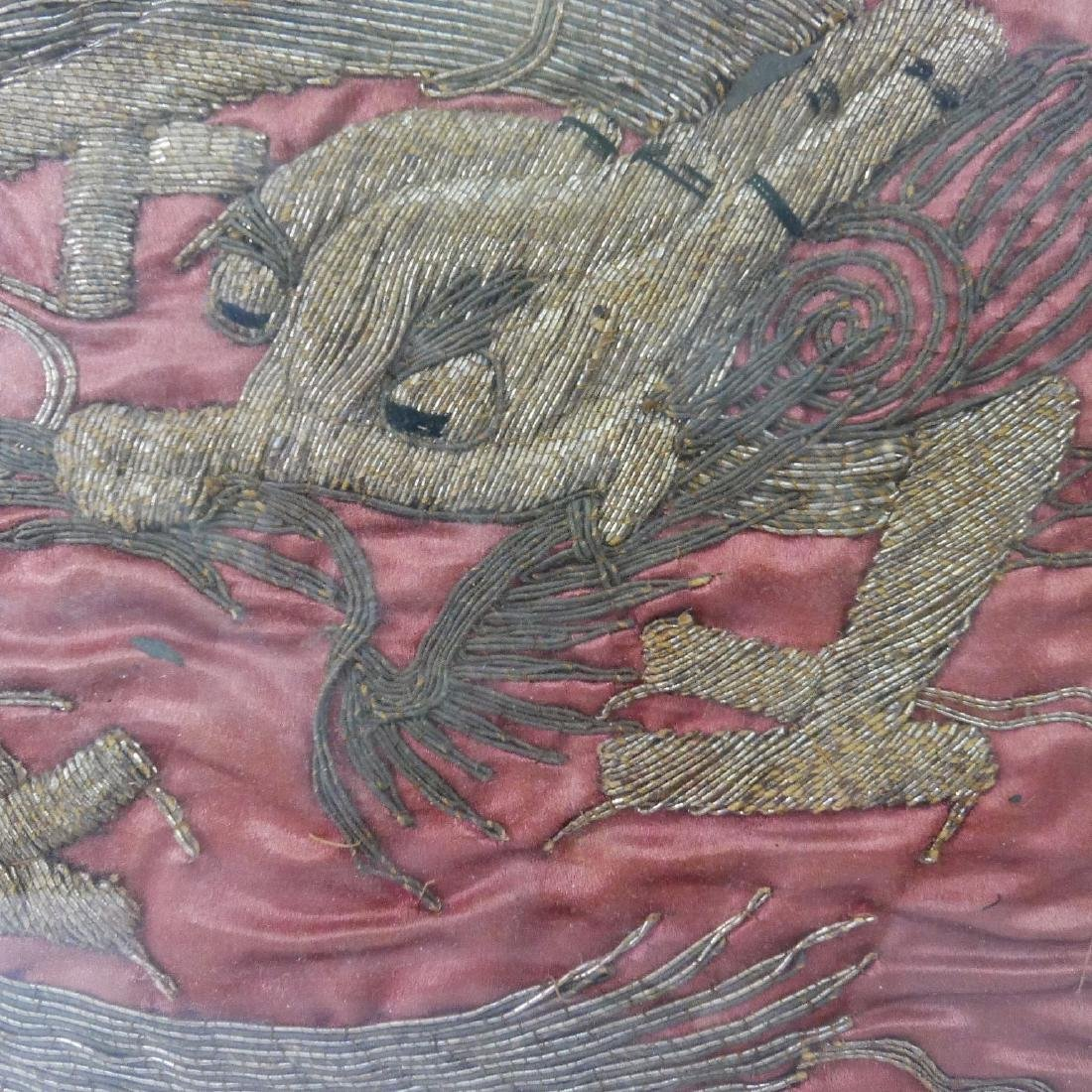 CHINESE ANTIQUE SILK EMBROIDERY DRAGON - 18 CENTURY OR - 2