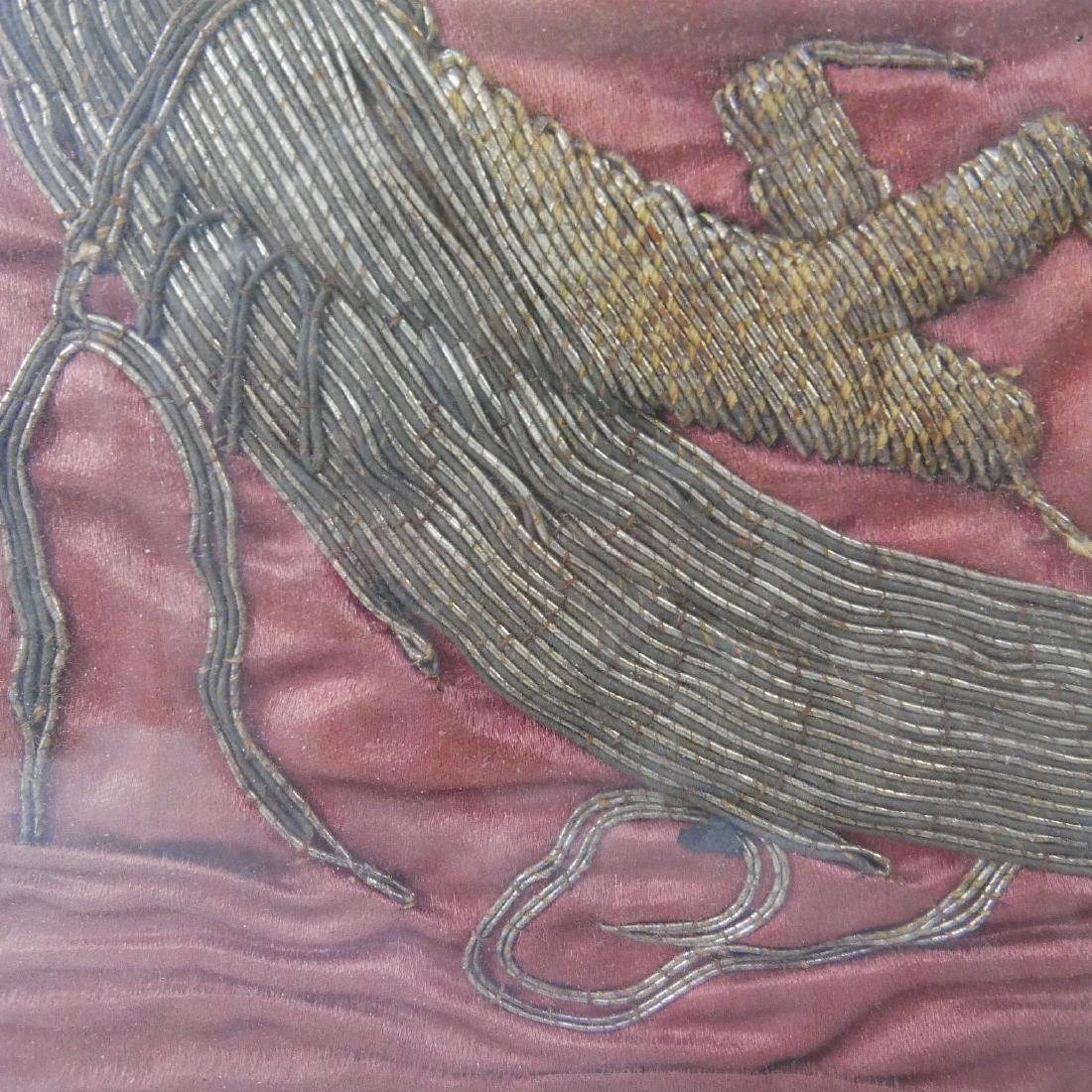 CHINESE ANTIQUE SILK EMBROIDERY DRAGON - 18 CENTURY OR - 3