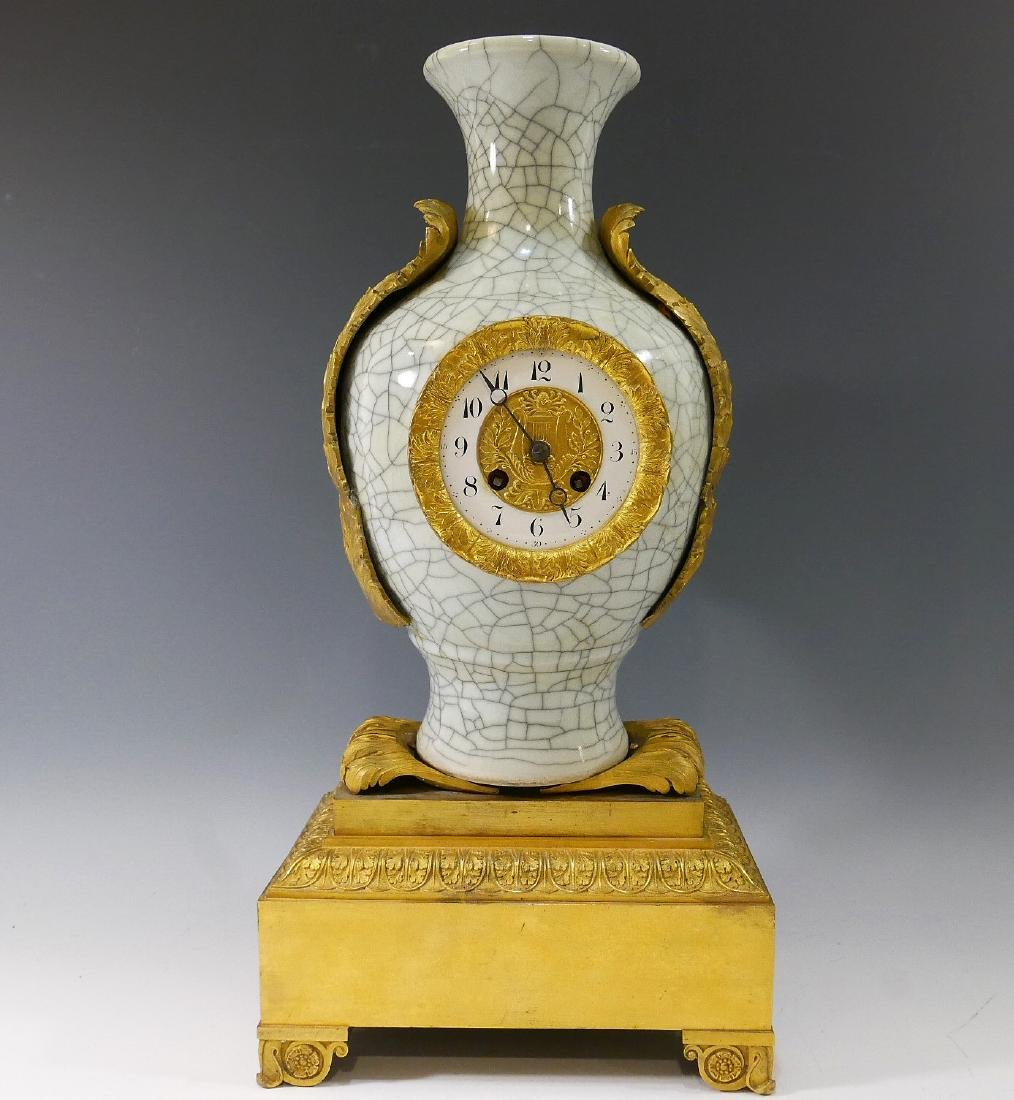 CHINESE ANTIQUE CRACKLE GLAZE MOUNTED AS A CLOCK - 19TH