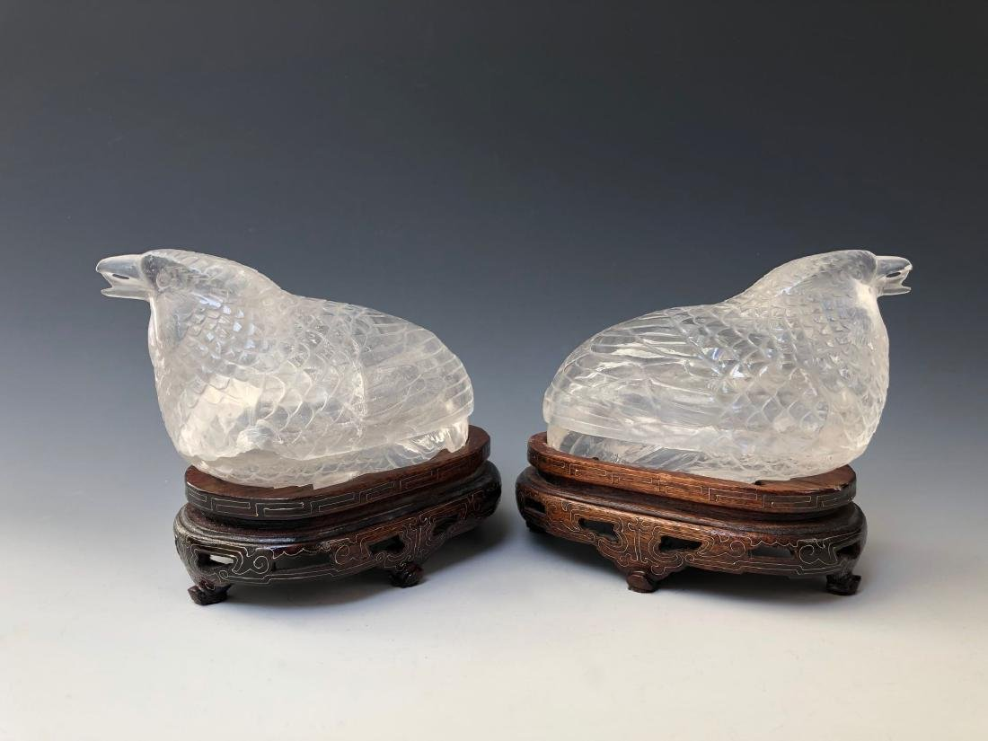 A PAIR OF RARE CHINESE ANTIQUE CRYSTAL BIRD BOX. QING