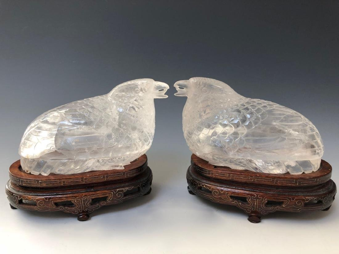 A PAIR OF RARE CHINESE ANTIQUE CRYSTAL BIRD BOX. QING - 4