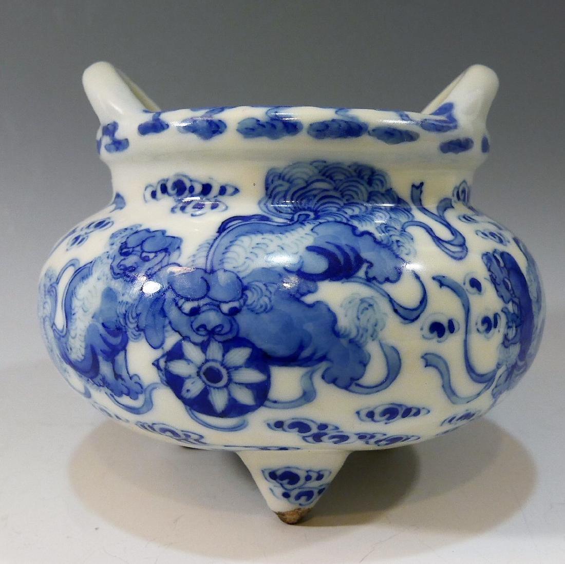 CHINESE ANTIQUE BLUE WHITE TRIPOD CENSER - YONGZHENG