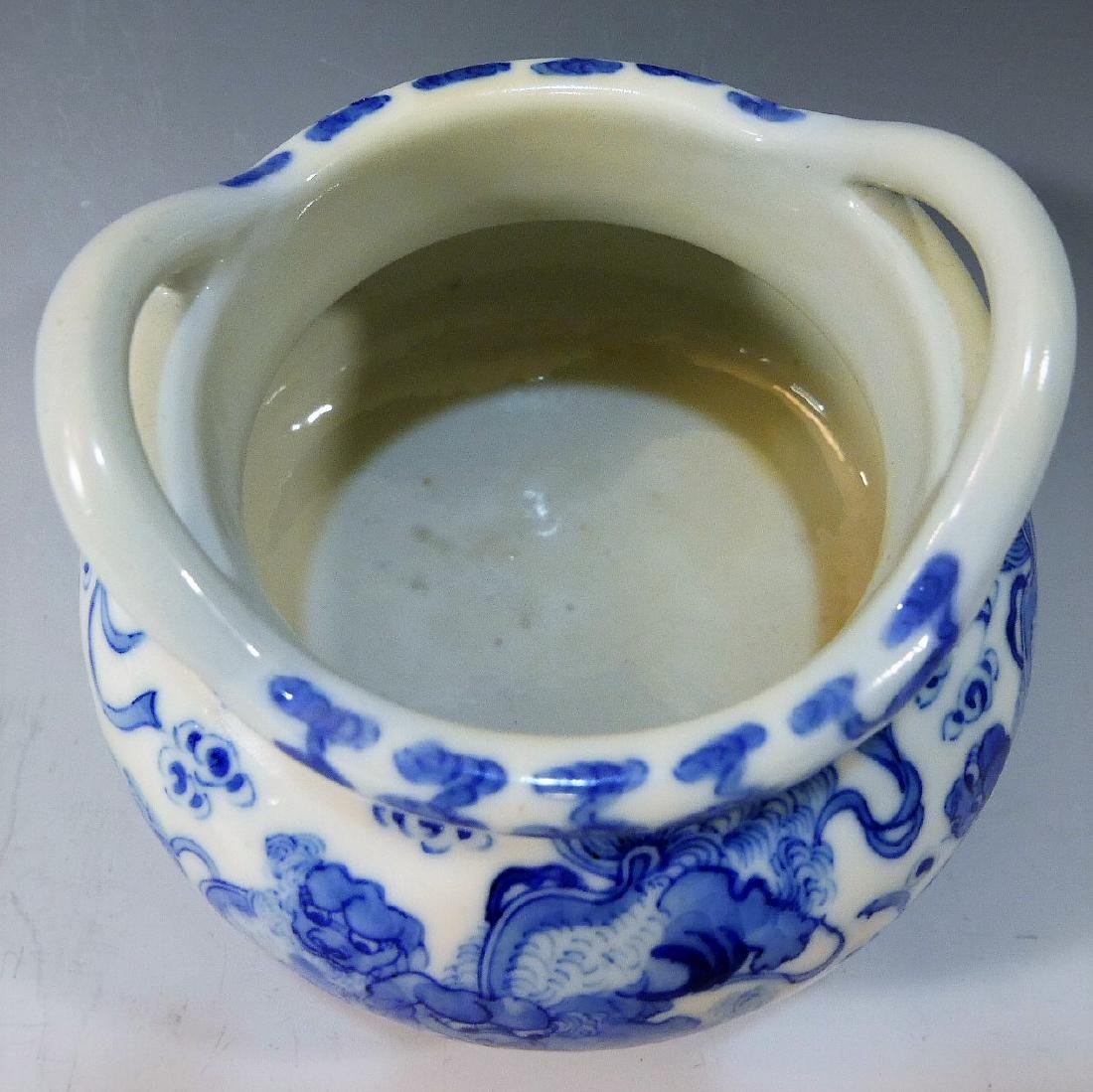 CHINESE ANTIQUE BLUE WHITE TRIPOD CENSER - YONGZHENG - 4