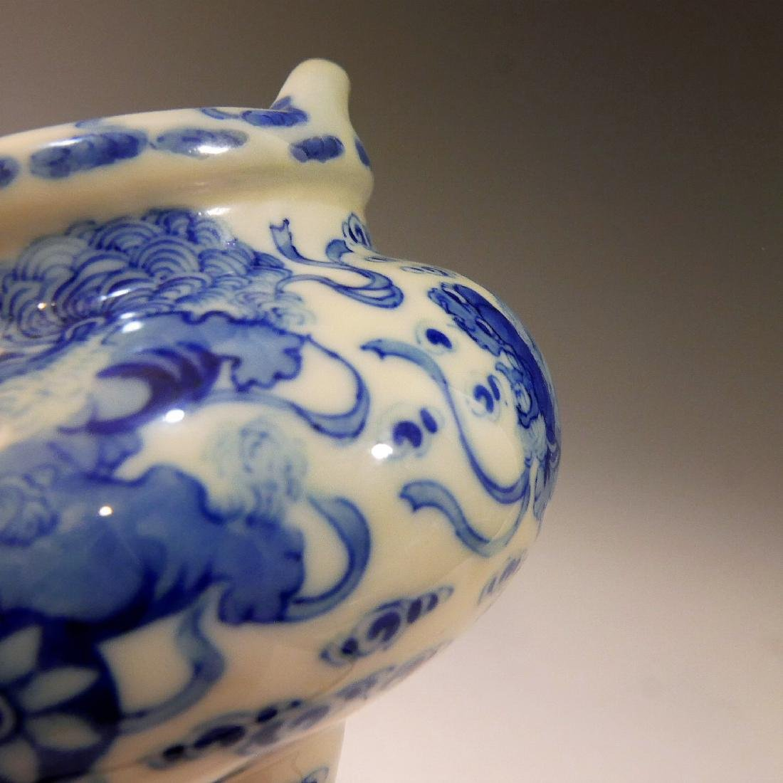 CHINESE ANTIQUE BLUE WHITE TRIPOD CENSER - YONGZHENG - 5