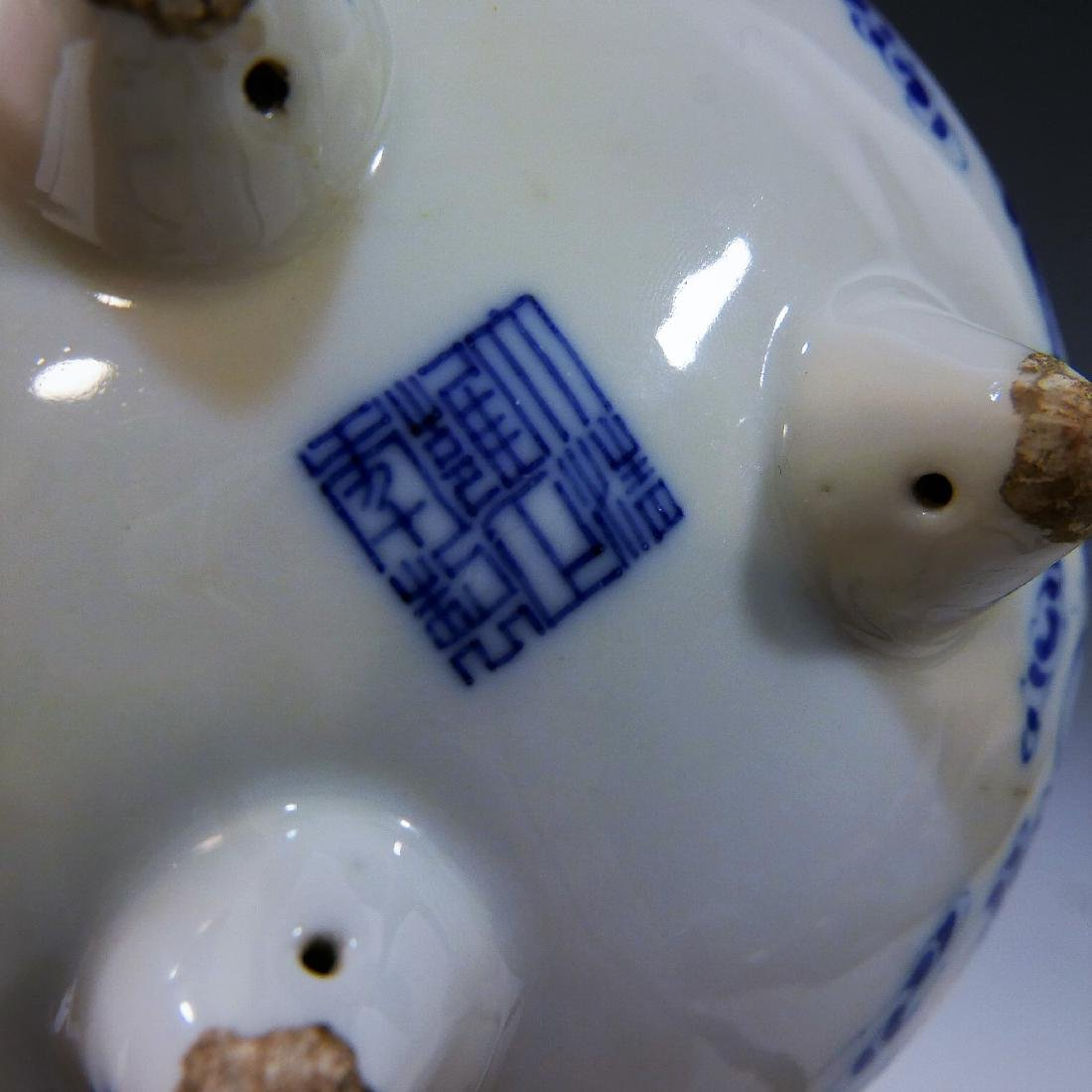 CHINESE ANTIQUE BLUE WHITE TRIPOD CENSER - YONGZHENG - 6