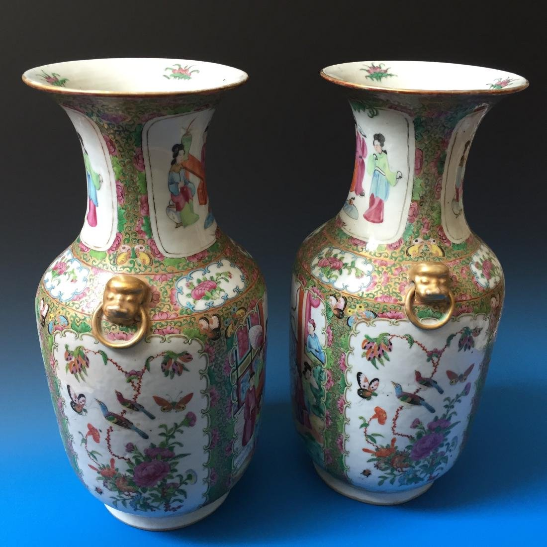 A PAIR CHINESE ANTIQUE FAMILLE ROSE PORCELAIN VASES, - 2