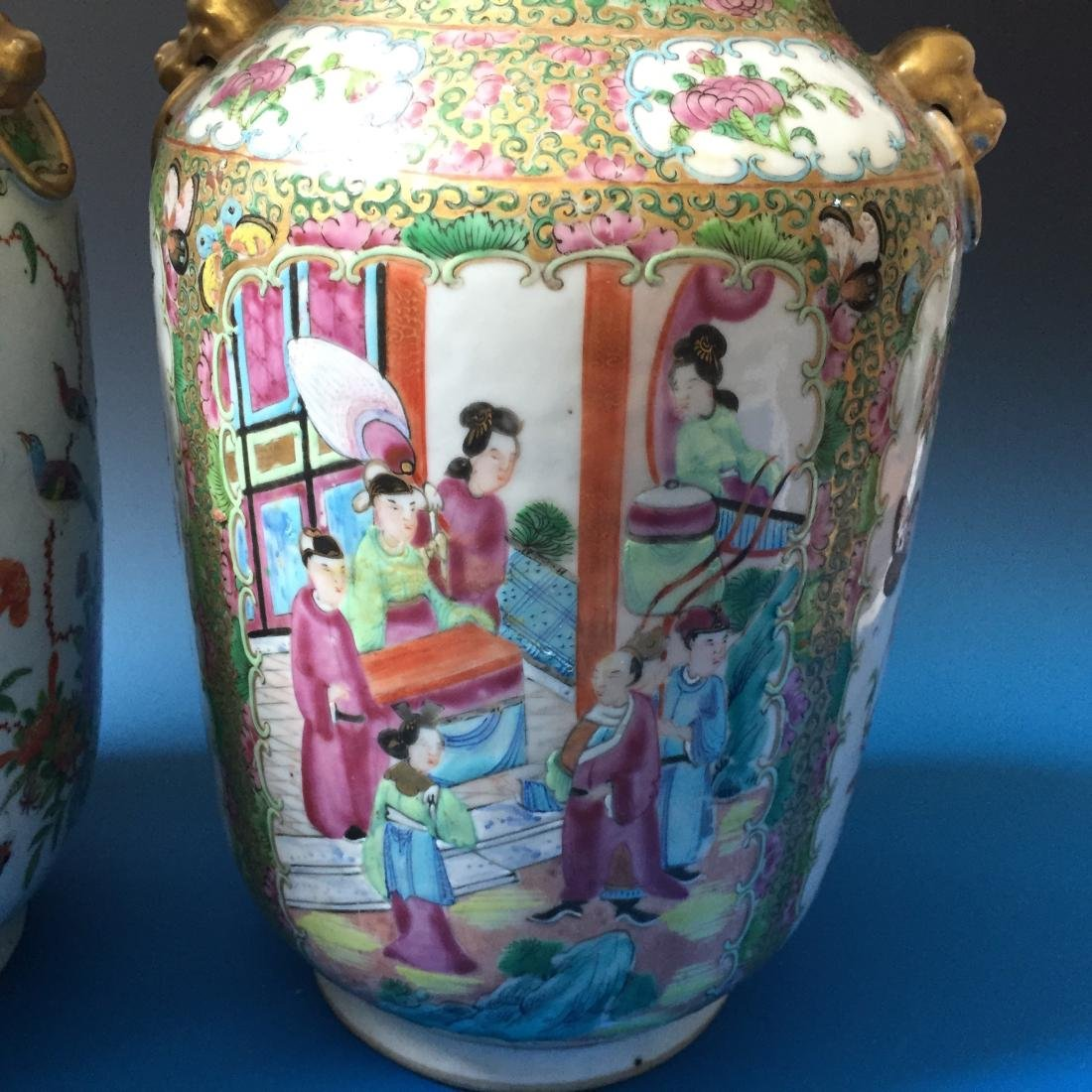 A PAIR CHINESE ANTIQUE FAMILLE ROSE PORCELAIN VASES, - 4