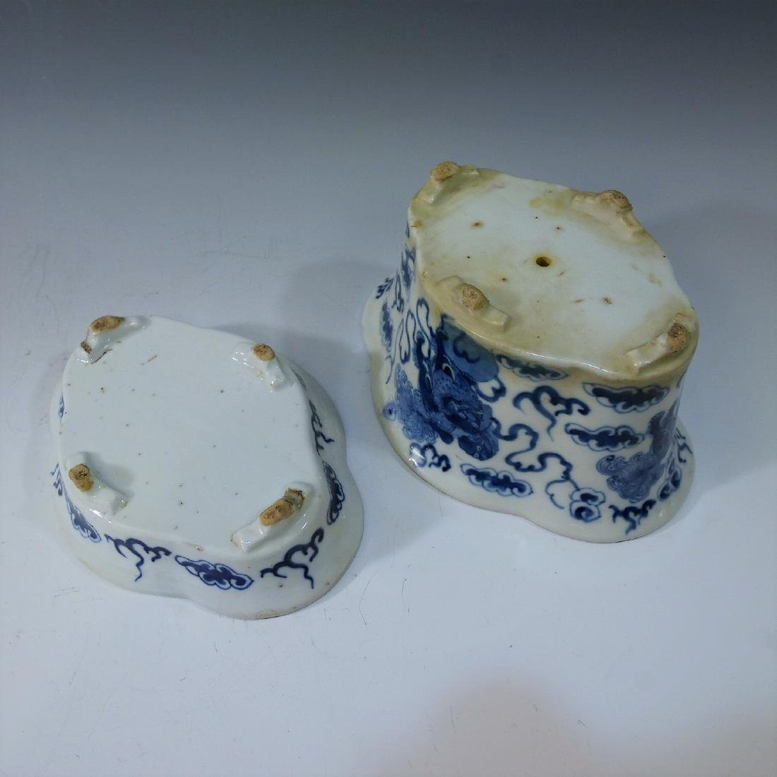 CHINESE ANTIQUE BLUE WHITE JARDINIERE - QING DYNASTY - 3