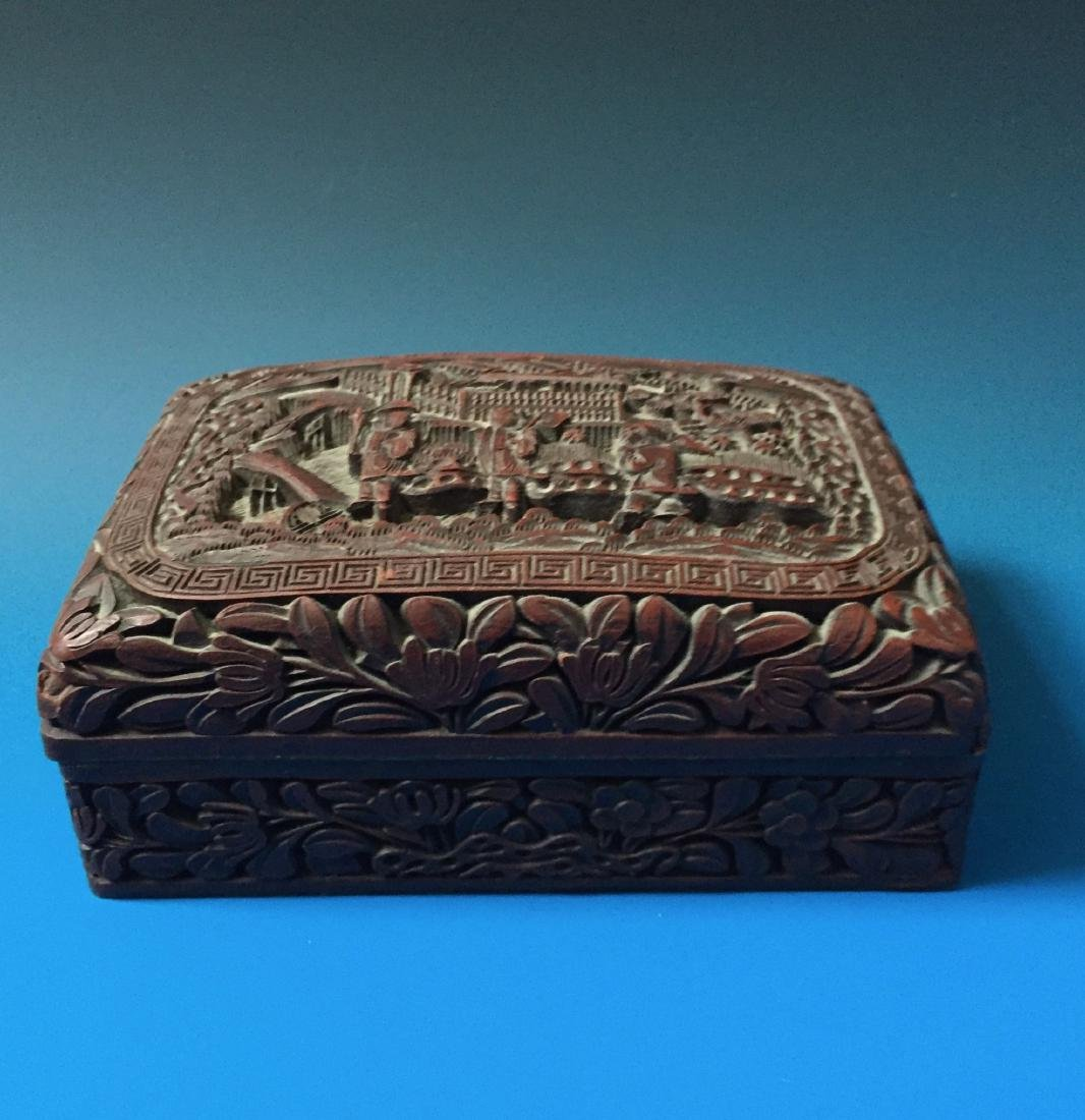 A BEAUTIFUL CHINESE ANTIQUE LACQUER BOX SEAL MARK OF