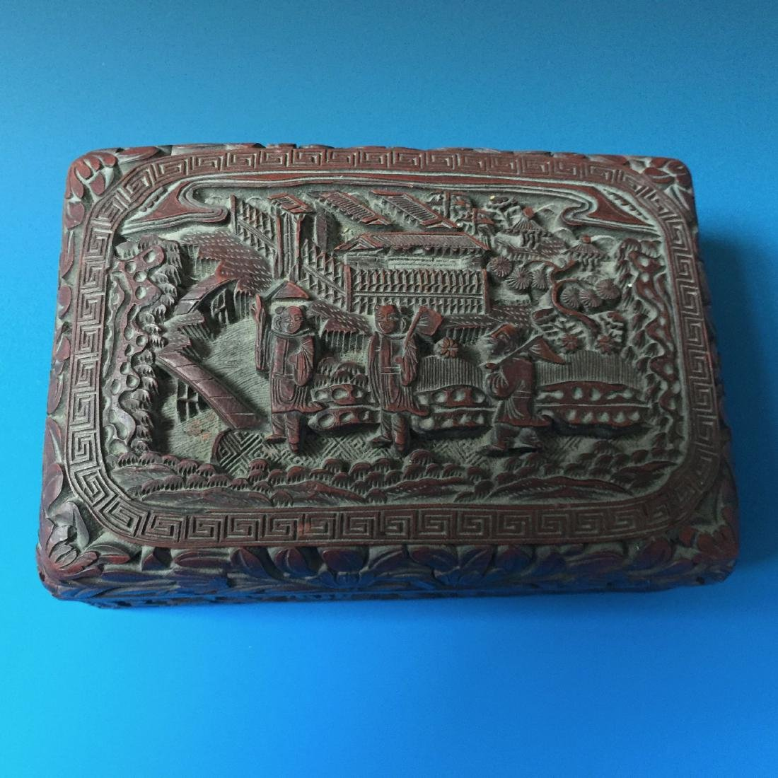 A BEAUTIFUL CHINESE ANTIQUE LACQUER BOX SEAL MARK OF - 2