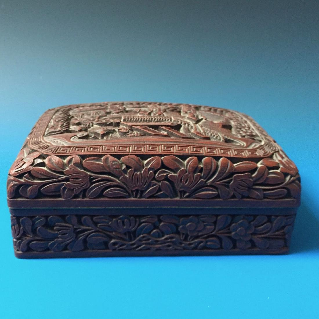 A BEAUTIFUL CHINESE ANTIQUE LACQUER BOX SEAL MARK OF - 5