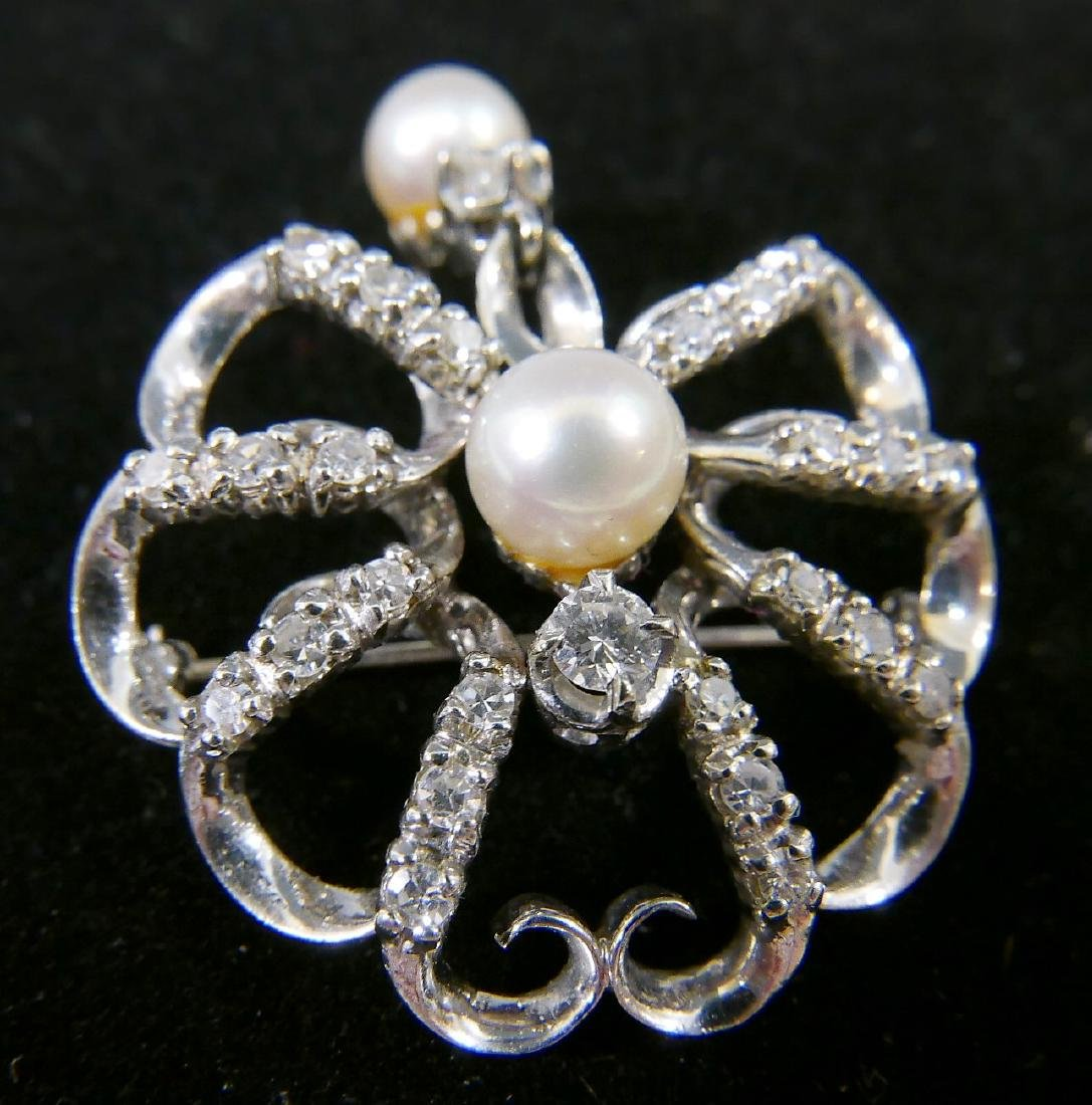 18K WHITE GOLD DIAMOND PEARL PENDANT OR PIN - 2