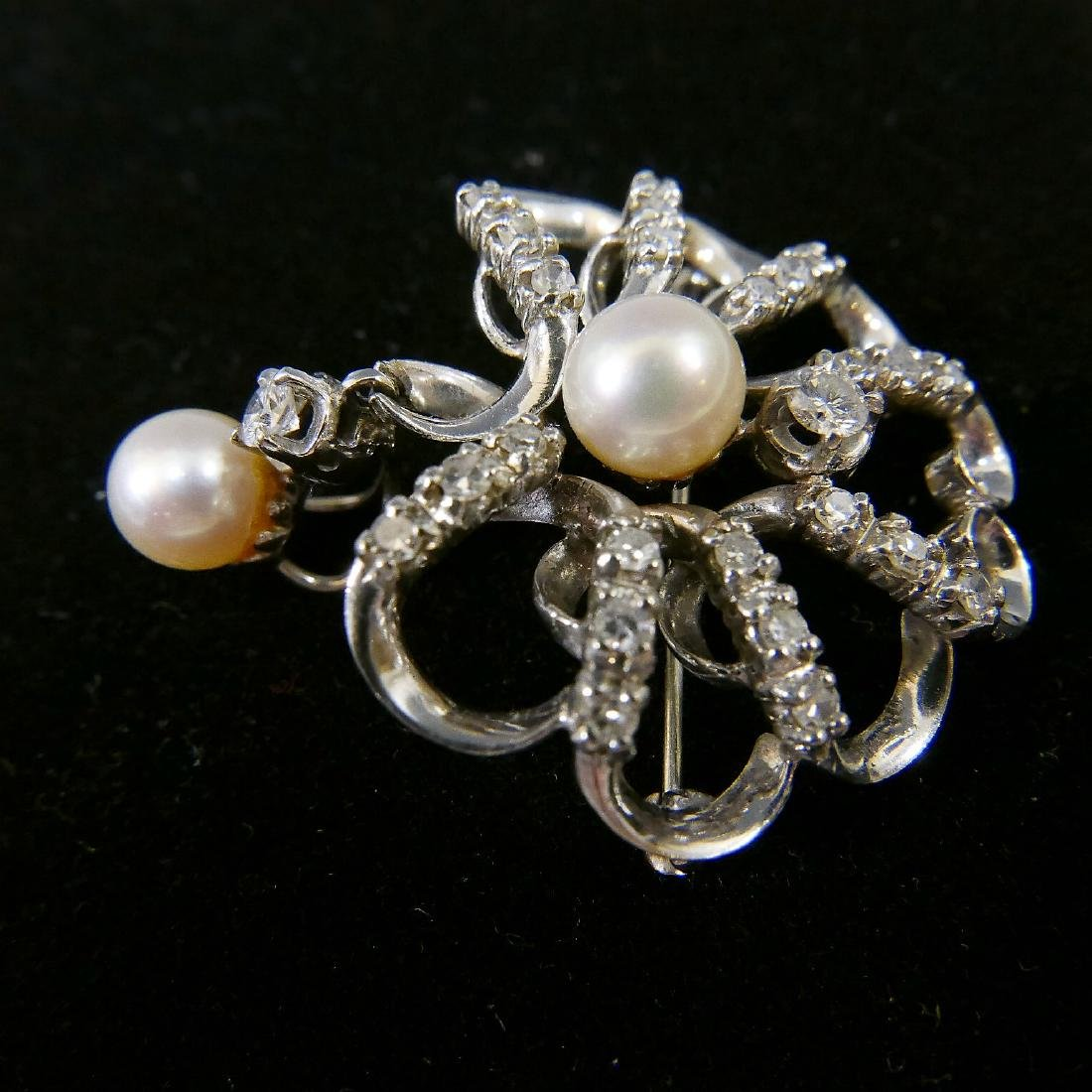 18K WHITE GOLD DIAMOND PEARL PENDANT OR PIN - 3