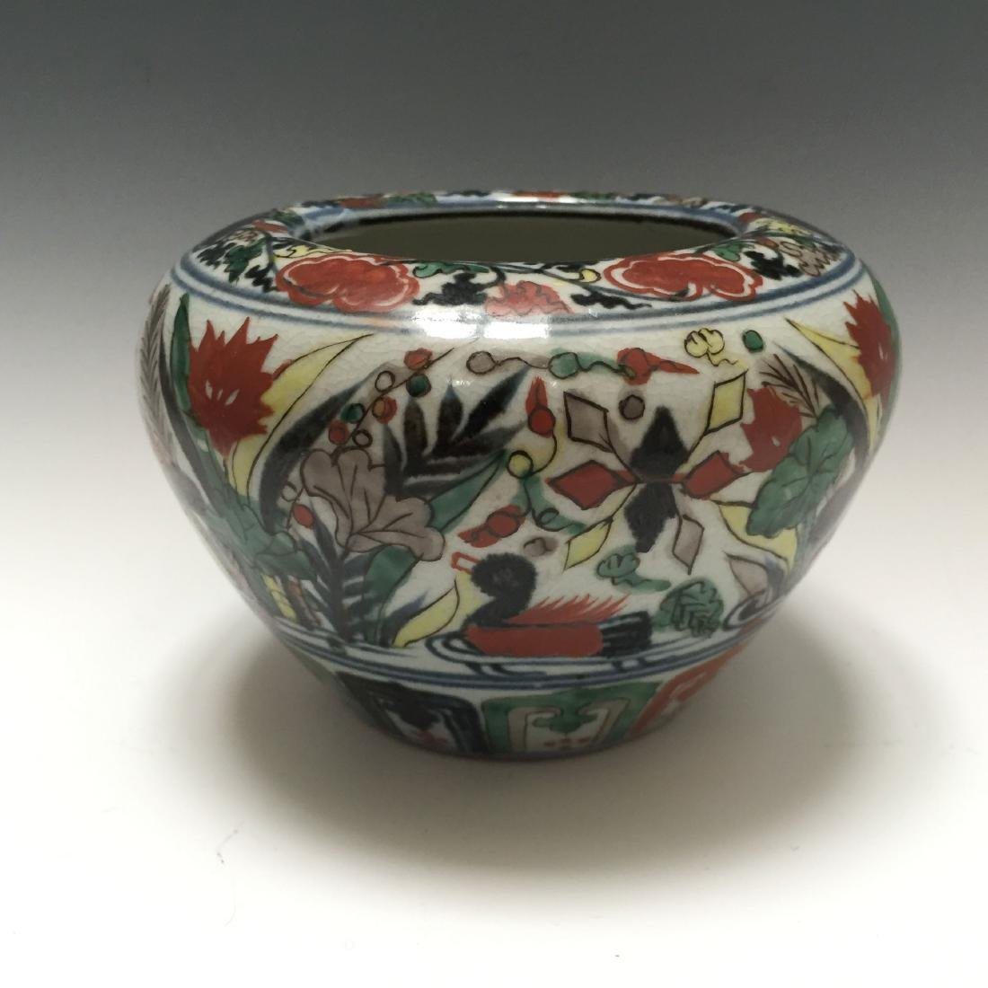 A CHINESE WUCAI PORCELAIN BOWL, MARKED.
