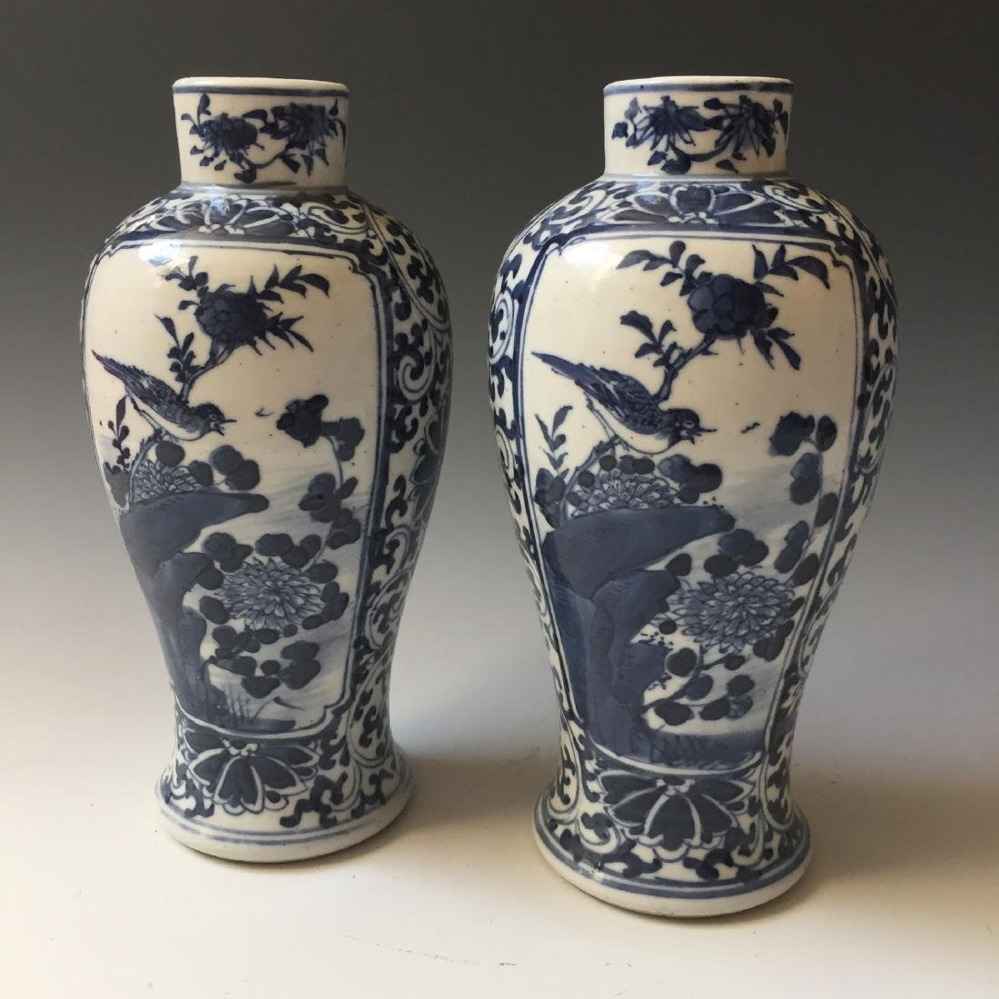 A PAIR CHINESE ANTIQUE BLUE AND WHITE VASE,19C. - 2