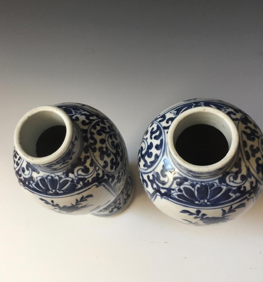 A PAIR CHINESE ANTIQUE BLUE AND WHITE VASE,19C. - 3