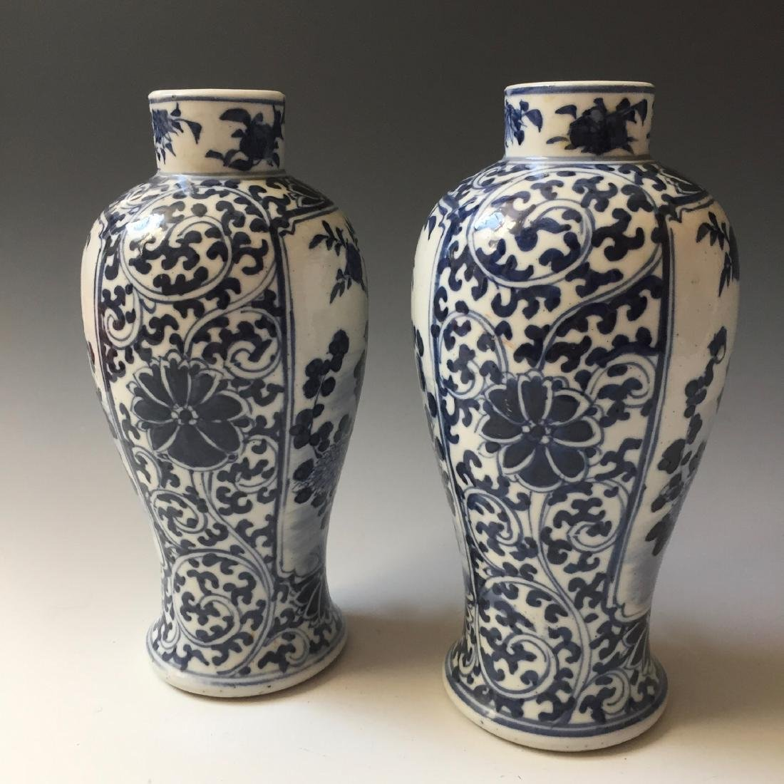 A PAIR CHINESE ANTIQUE BLUE AND WHITE VASE,19C. - 5