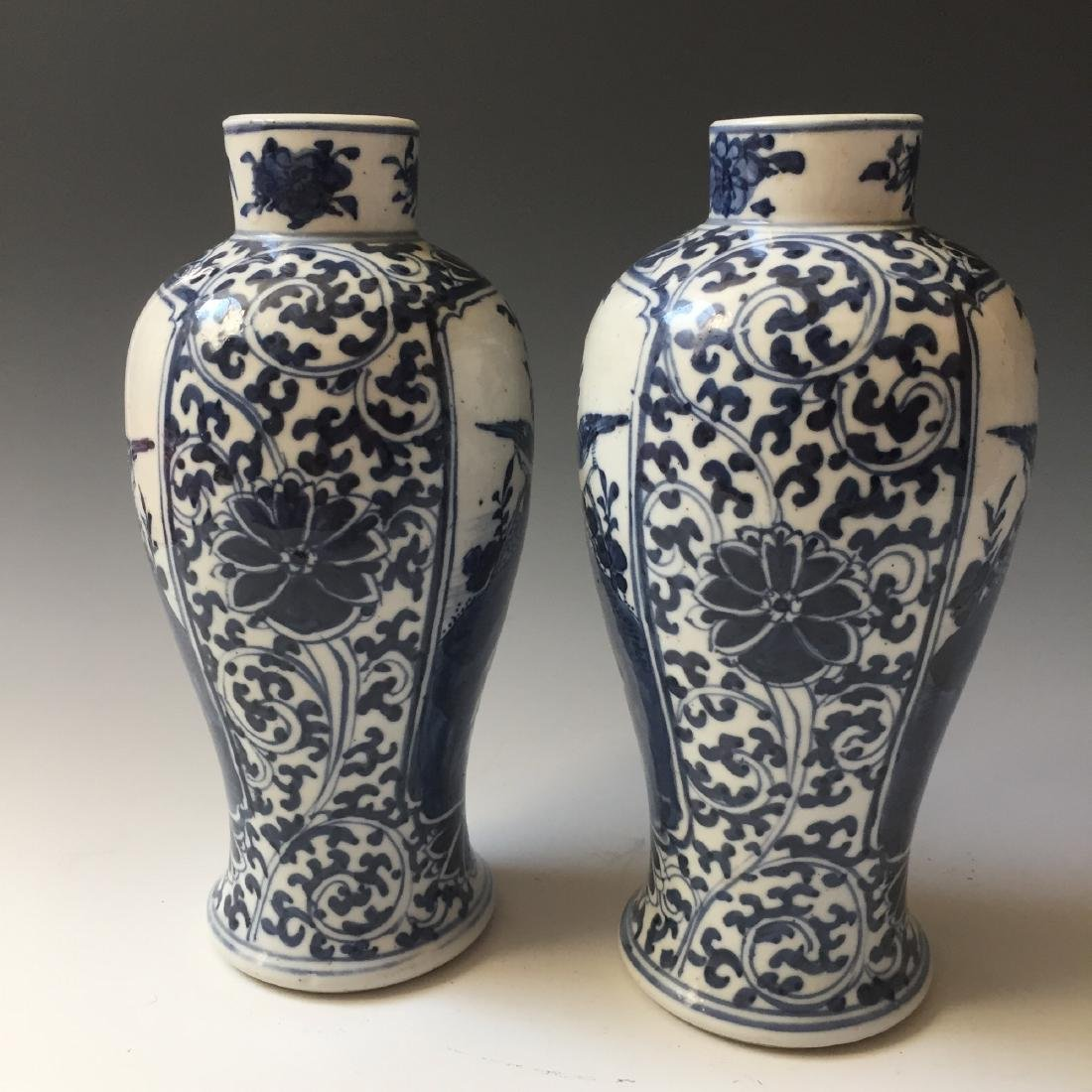 A PAIR CHINESE ANTIQUE BLUE AND WHITE VASE,19C. - 6