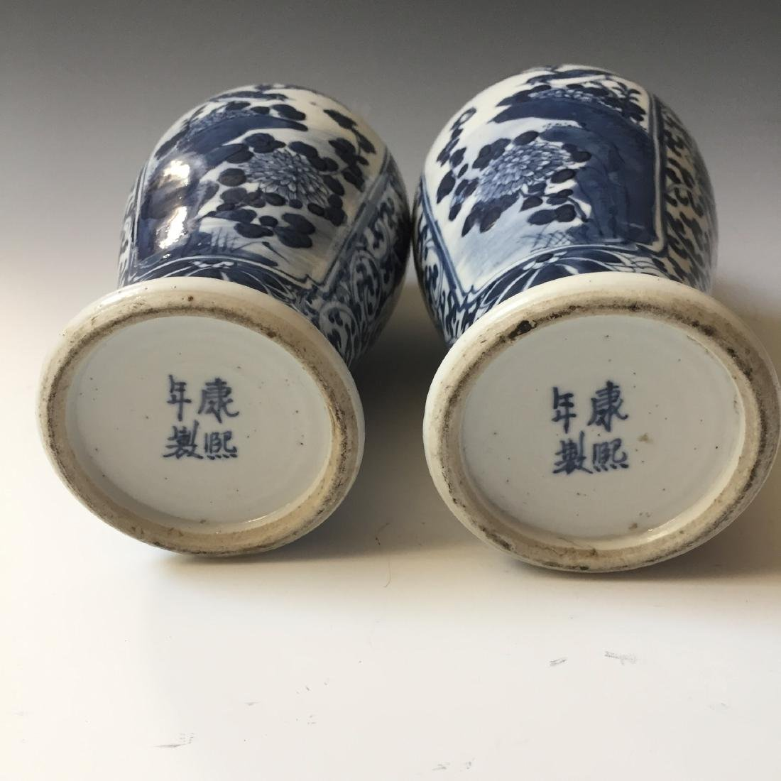 A PAIR CHINESE ANTIQUE BLUE AND WHITE VASE,19C. - 7