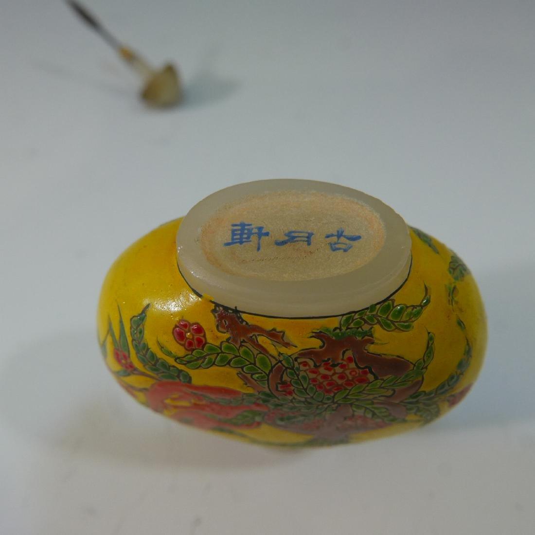 CHINESE ANTIQUE ENAMEL ON PEKING GLASS SNUFF BOTTLE - - 4